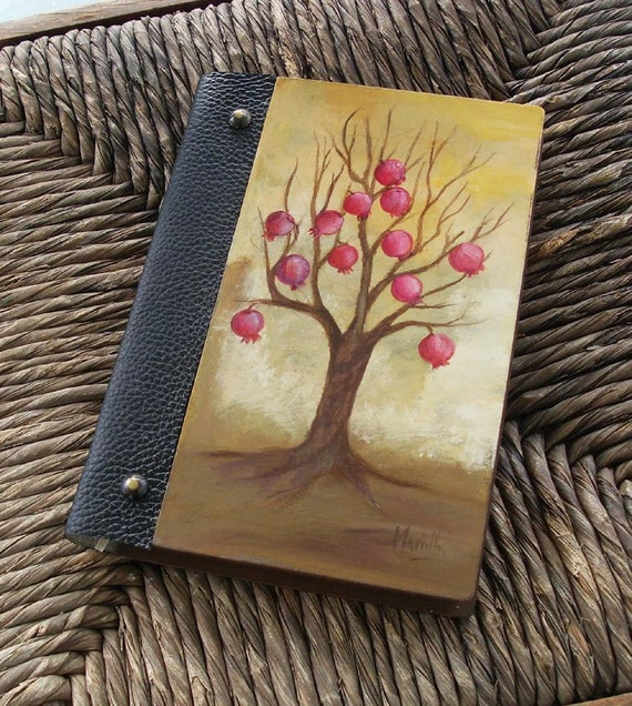 Notebook, Wooden Notebook, Custom Notebook, Journal Notebook, Writing Journal, Sketchbook, Custom Sketchbook, Pomegranate, Pomegranate Tree