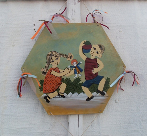 Playing Kids Kite - Home Decor - Kite - Wooden Kite - Wall Hanging - Wooden Wall Hanging