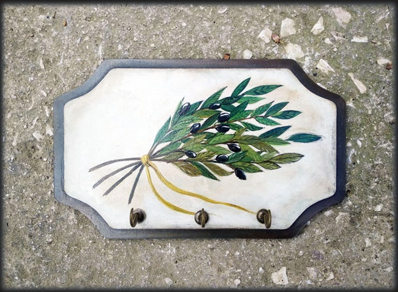 Olive Branch Acrylic Painting - Wooden Key Holder - Key Holder For Wall - Key Hooker - Totally Handmade and Handpainted