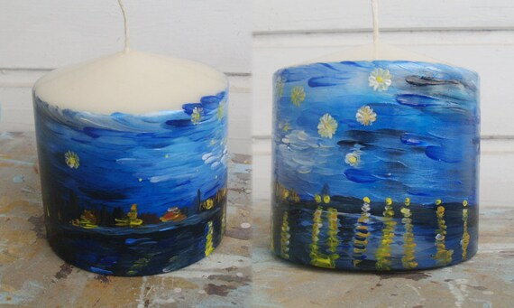 "Candle - Round Pillar Candle - Vanilla Scented Candle - Ecofriendly - Handpainted  - ""Starry night over the Rhone"""
