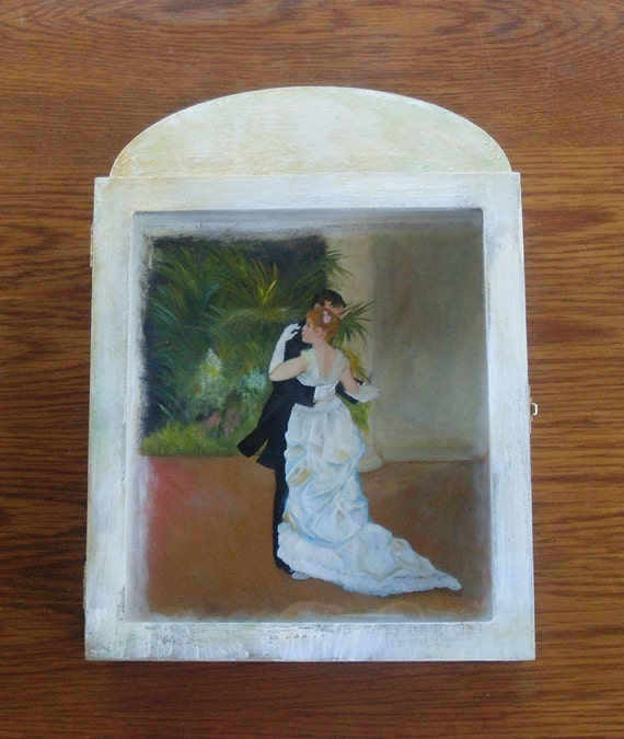 DANCING COUPLE- Wedding Crown Display Box - Wooden Display Box - Display Box - Display Case - Glass or Acrylic - Cabinet - Stefanothiki
