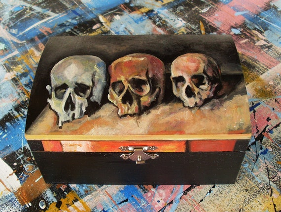 Wooden Box, Wooden Crates, Wooden Storage Boxes, Wooden Keepsake Box, Memory Box, Keepsake Box, Three Skulls