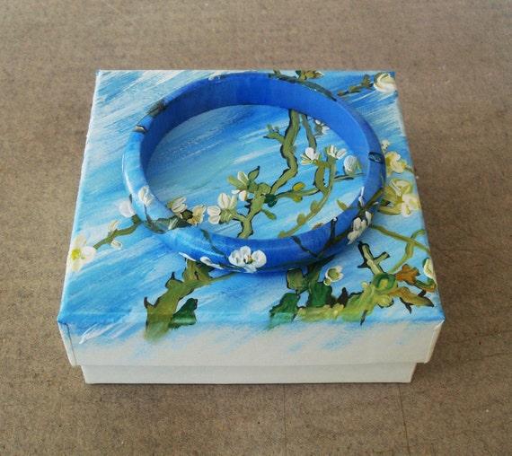 Bracelets, Bangles, Charms, Charm Bracelets, Handpainted, Hand painted, Wooden Bracelet, Wooden Bangle, Almond Blossoms, Van Gogh