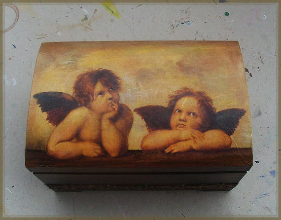 Wooden Box, Wooden Crates, Wooden Storage Boxes, Wooden Keepsake Box, Memory Box, Keepsake Box, ANGELS, CHERUBS, Raphael