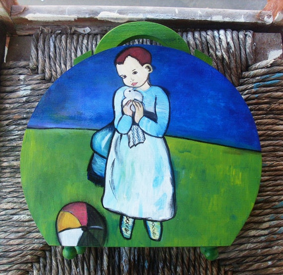Wooden Box Purse, Wooden Box, Wooden Crates, Wooden Storage Boxes, Wooden Keepsake Box, Memory Box, Keepsake Box, Handbag - Girl with a dove