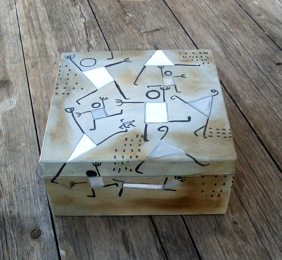 Wooden Box, Wooden Crates, Wooden Storage Boxes, Wooden Keepsake Box, Memory Box, Keepsake Box, Square Box, DANCING IN FEAR