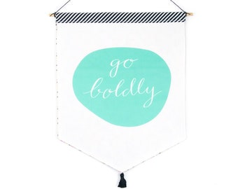Hanging Fabric Banner - teal