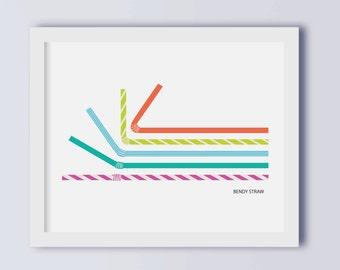 Bendy Straw Art Print