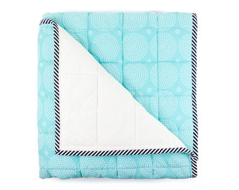 Wholecloth Crib Quilt - cyan