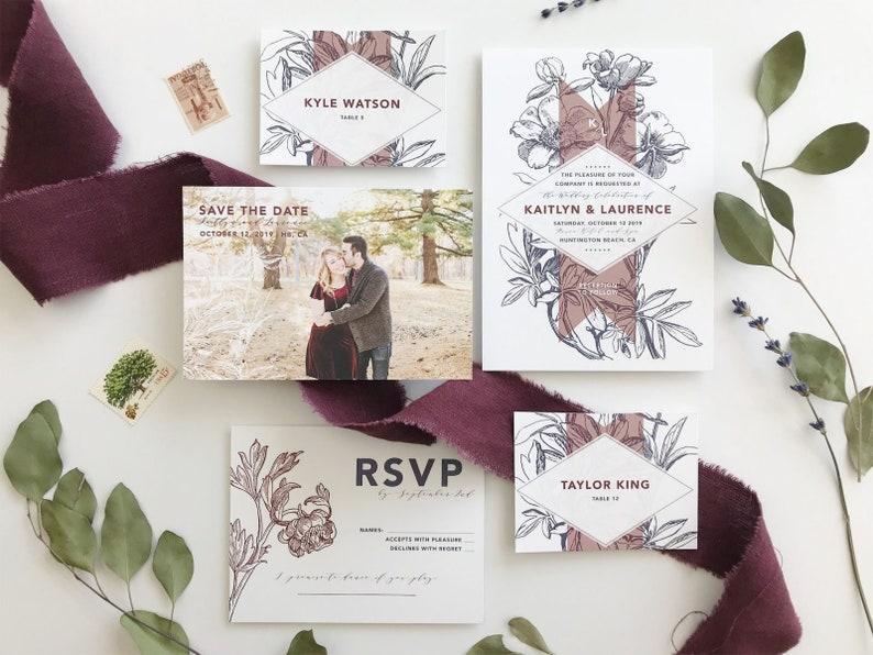 Navy and Burgundy Floral Illustration Wedding Invitations