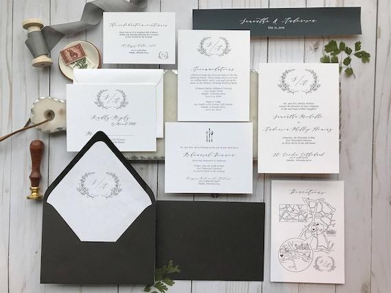 Elegant Black And White Wedding Invitation Etsy