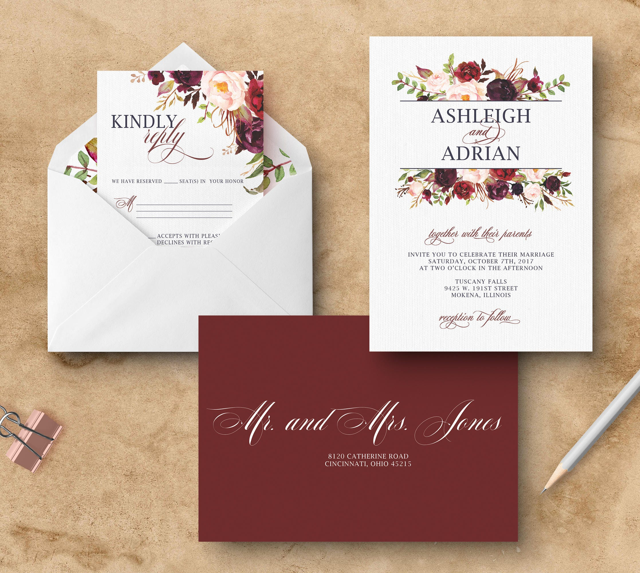 Floral Burgundy Wedding Invitation | Etsy