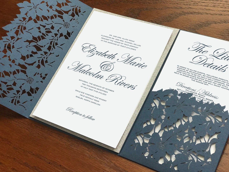 Slate Blue Dusty Laser Cut Pocket Wedding Invitation
