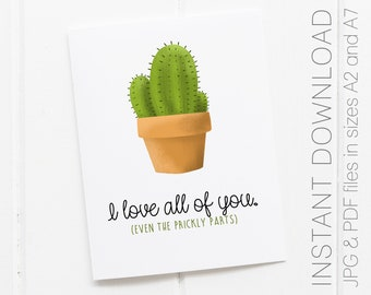 Love Card You/'re Stuck With Me Pun Lovers 5x7 Folded Cactus