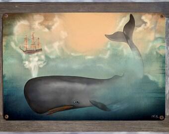Framed Metal Print Nautical Art Cottage Decor Gift For Him Navy Rustic Wall Art Nautical Navy Decor Nautical  Prints