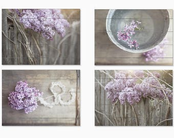 Wood Plank Sign Set: Country Print Set of 4 Wood Plank, Farmhouse Decor, Country Decor, Barn Decor, Rustic Country Landscape Artwork, Purple