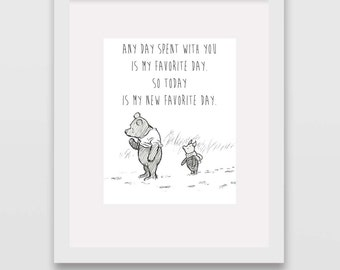 My Favorite Day Classic Winnie the Pooh Nursery Art INSTANT DOWNLOAD
