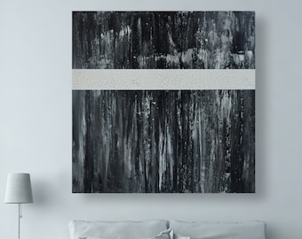 Large Black and White Original Abstract Painting on Canvas - Free Shipping - 36x36 inch Abstract Landscape Wall Artwork by CMFA