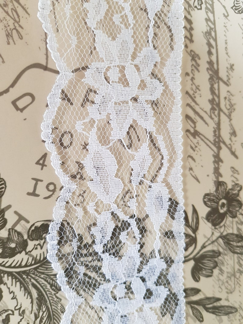 "Lace Market French White Lace Trim Edging 2.5/"" 7cm 70mm Please Choose Length"