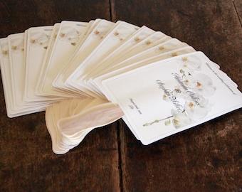 wedding program fan Fully Assembled Paddle Custom on Shimmer Card Stock