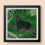Panther Illustration Jungle Illustration Tropical Illustration Wall Art Archival Print