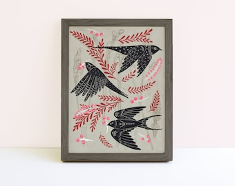 Linocut Style Folk Birds Print - Swallows Print - Bird Print - Wall Art