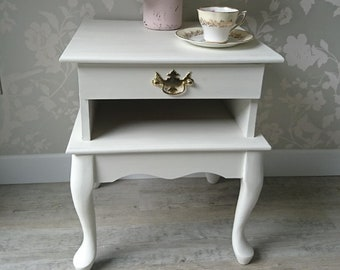 Gorgeous Vintage Bedside Table Hand Painted In Annie Sloan Old White