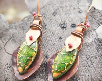 Green Leaves and Copper Earrings
