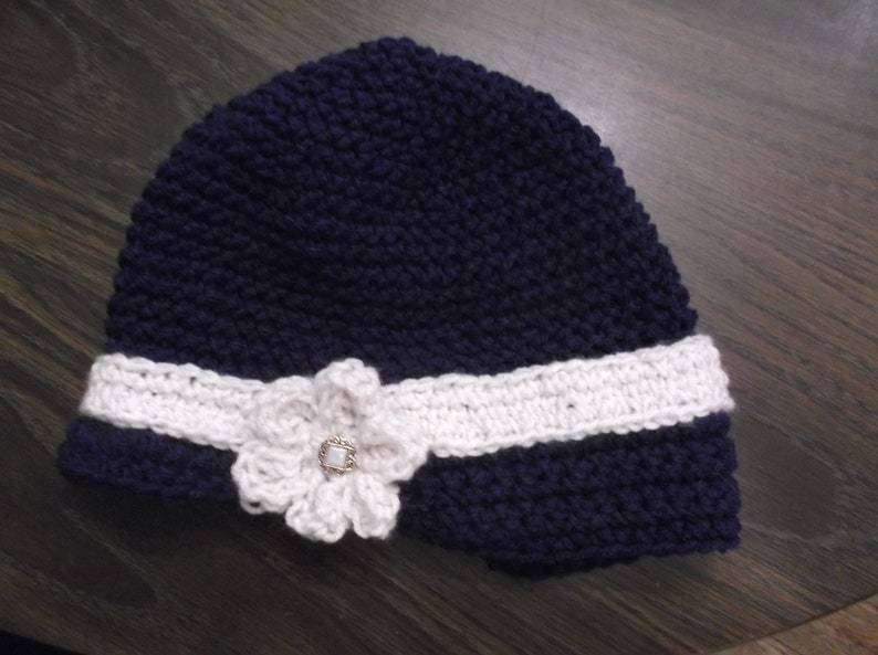 Ready To Ship Cute Vintage Style Navy BlueIvory Crocheted Cap Hat