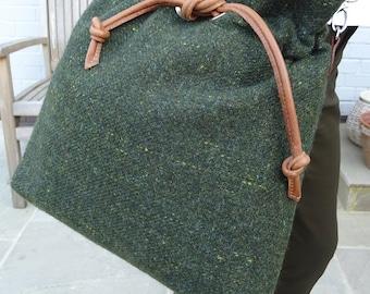 Shoulder Bag - Green tweed and Tan Leather