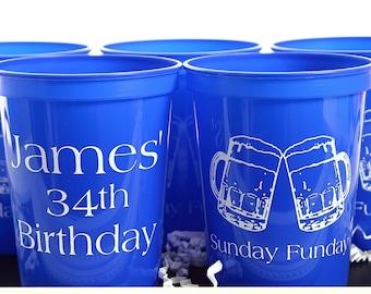 Birthday Party Cups, Custom Birthday Favor, Personalized Favor, Custom Party Favor, Birthday Party Favor, Adult Birthday Cup, Plastic Cups
