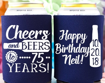 75th Birthday Cheers Beers To 75 Years Can Coolers Favor Personalized Party Favors Gift For Him Beer