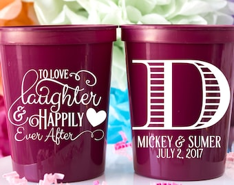 Wedding Cups Plastic Cups Stadium Cups Personalized Cups Custom Wedding Cups Monogram Cups Wedding Party Cups Monogrammed Cups Drink Cups
