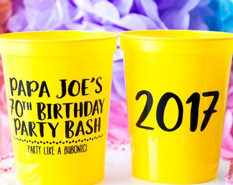 70th Birthday Favor, Birthday Party Cups, Party Favor Cups, Birthday Gift, Custom Plastic Party Cups, Stadium Cups, Custom Party Cups