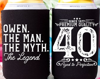 The Man Myth Legend Birthday Can Cooler 40th Gift For Him Personalized Happy Party Favors