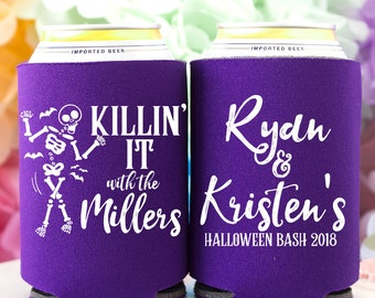 1411 Halloween Party Halloween Can Coolers Personalized Coolies Spooky Can Cooler Custom Hugger Skeleton Wedding Coolies