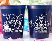 Talk Derby To Me Personalized Cups Kentucky Derby Party Favors Horse Racing Decor Horse Race Party Customizable Cups Plastic Cups