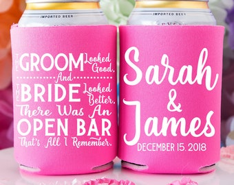 The Groom Looked Good The Bride Looked Better Personalized Wedding Favors for Guests Funny Wedding Favor Beer Can Cooler Custom Party Favor