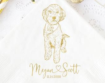 Custom Pet Drawing Rehearsal Dinner Dog Portrait Napkins Gold Foil Napkins Personalized Pet Sketch Napkins Wedding Beverage Napkins
