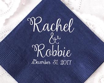 Wedding Napkins, Personalized Napkins, Anniversary Napkins, Wedding Favors, Custom Napkins, Gold Foil, Shower Napkins, Wedding Napkins