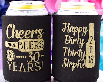 30th Birthday Favors Cheers To 30 Years Dirty Thirty Party Personalized Can Cooler 40 50 60
