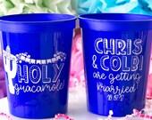 Personalized Cups, Holy Guacamole Wedding Cups, Fiesta Wedding, Taco Wedding, Stadium Cups, Mexican Fiesta Birthday, Custom Party Cups