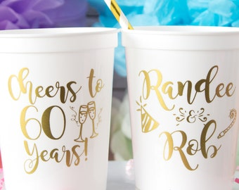 Cheers To 60 Years Personalized Cups 60th Birthday Party Favors Happy Decor Stadium Plastic