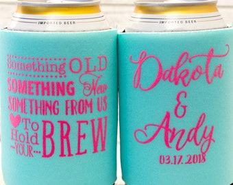 Wedding Can Cooler Personalized Wedding Favors for Guests Summer Wedding Beach Wedding Custom Can Cooler Something Old Something New