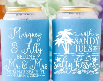 356 Sandy Toes And Salty Kisses Wedding Favor Coozies Cheap Beer Coozie Idea