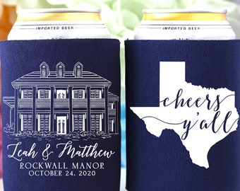Custom Venue Illustration Wedding Favors Personalized Can Coolers Can Coolers Wedding Favors for Guests
