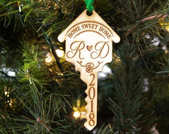 First Home Ornament Housewarming Gift Christmas Sweet New Wood Key Personalized House Wedding