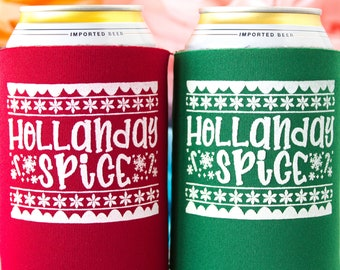 Holiday Party Favors Christmas Party Company Party Christmas Wedding Favors for Guests Beer Can Cooler Rustic Christmas Ugly Sweater Party