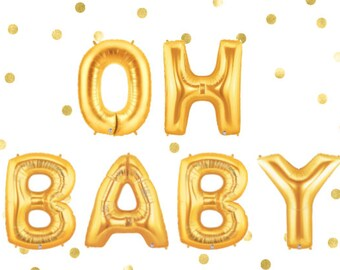 Oh Baby Balloons, Baby Shower, Baby Balloons, Girl Shower, Boy Shower, It's a Girl, It's a Boy, Balloon Garland, Gold Balloon Banner
