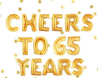 Cheers To 65 Years 65th Birthday Party Anniversary Balloons Banner Happy Bday